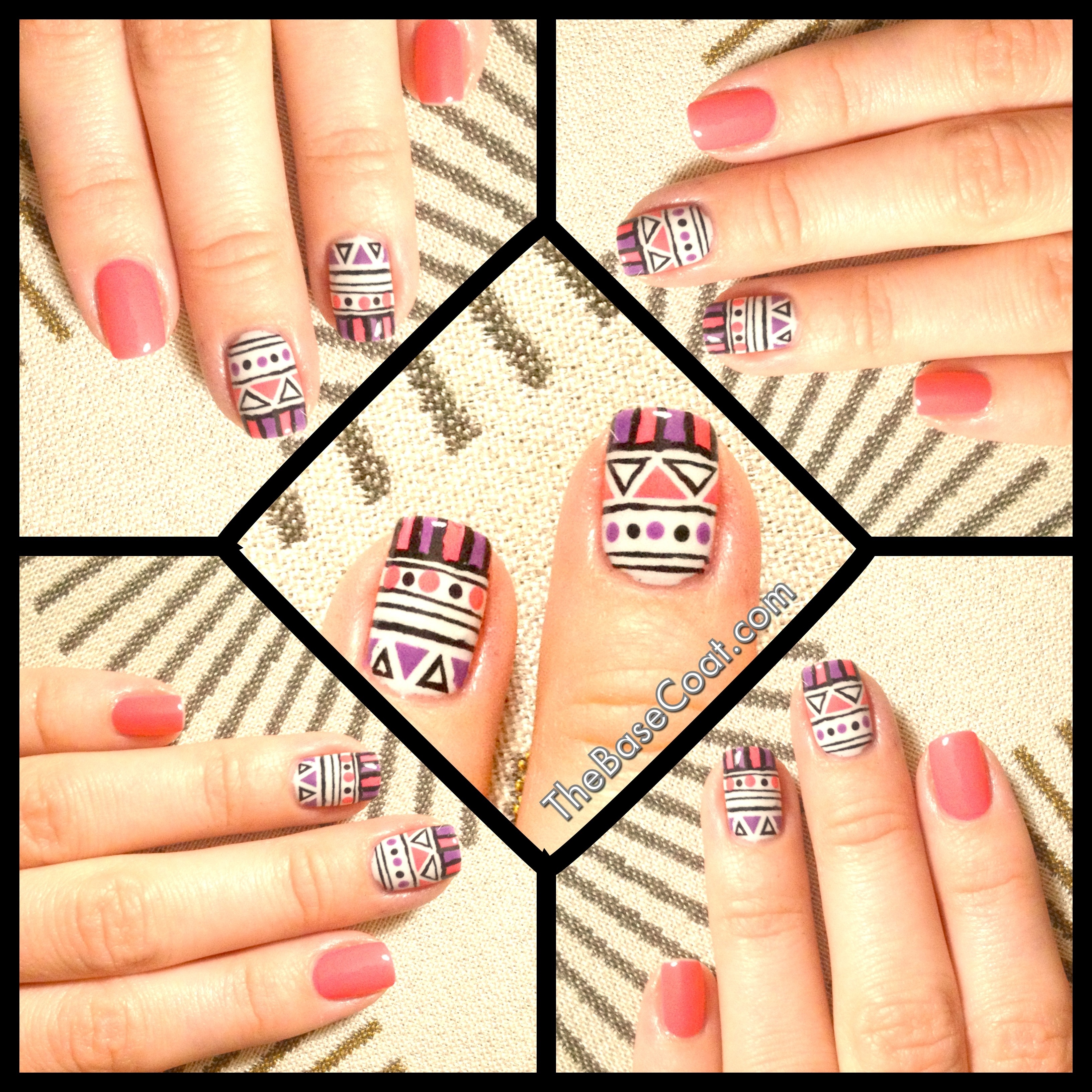 NOTD: Pink & Purple Tribal Accent Nails
